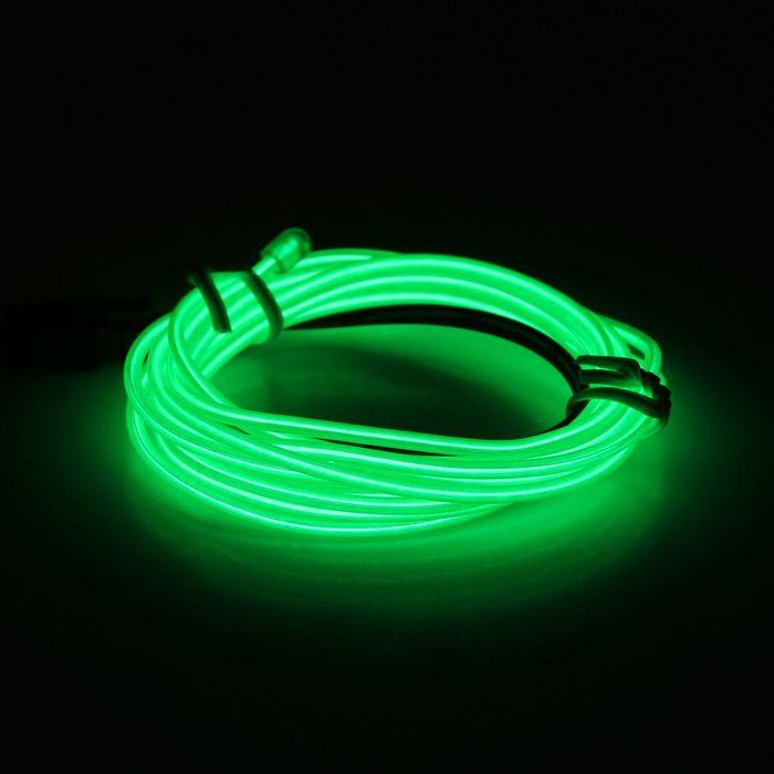 Неоновая нить для подсветки салона, 12 В, 2 м, с источником питания, зеленая