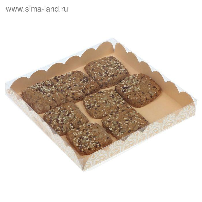 Коробка для кондитерских изделий с PVC крышкой «Для тебя», 10.5 × 21 × 3 см