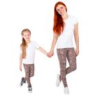 """Легинсы для девочки """"Волшебная радуга"""", рост 122 см (62), цвет коричневый, принт леопард ДРЛ894804н"""