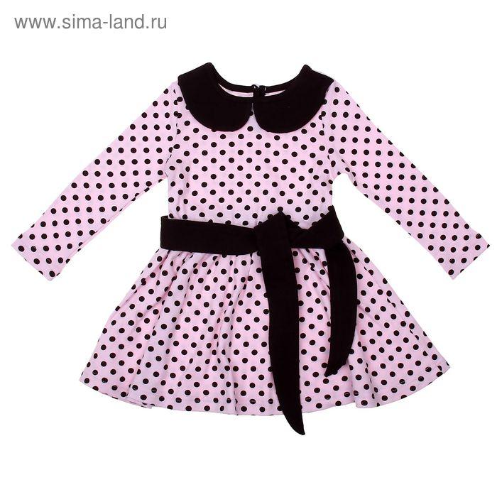 """Платье для девочки """"Осенний блюз"""", рост 92 см (50), цвет шоколадный/розовый, принт горошек (арт. ДПД854067н_М)"""