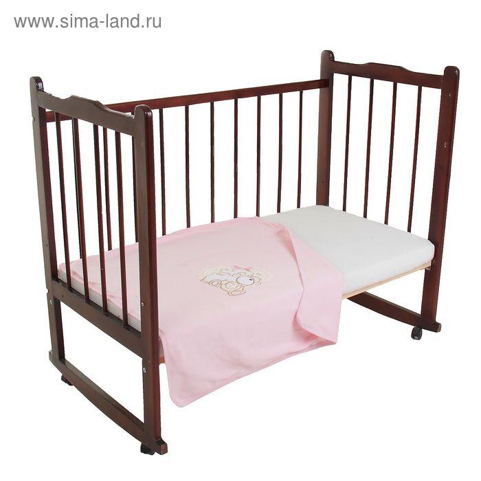 Плед трикотажный с аппликацией, размер 85*85, цвет розовый 30006