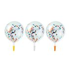 "Balloon latex ""Confetti circles"" 3 piece 12"" Transparent"