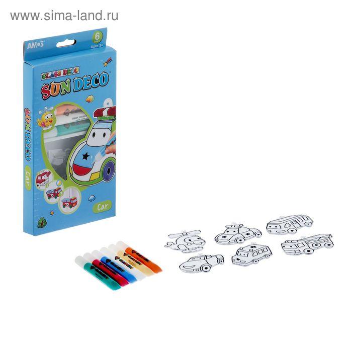 """Набор витражных красок """"Машинки"""", 6 цветов по 10,5 мл + 6 мини-витражей"""