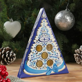 """Набор натуральных эфирных масел """"Ароматы зимних праздников"""" синий, 5 шт.: мандарин, пихта, сосна, апельсин, кедр"""