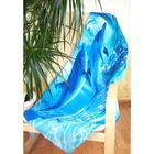 """Полотенце банное вафельное """"Дельфины"""", 80х150 см, синий, 176 г/м2, хлопок 100%"""
