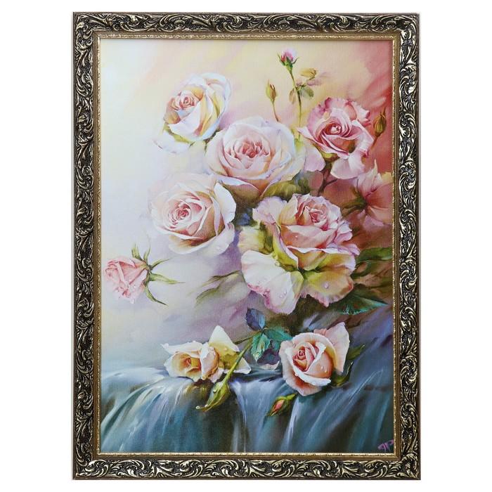 """Картина """"Ветка белых роз"""" рама микс"""