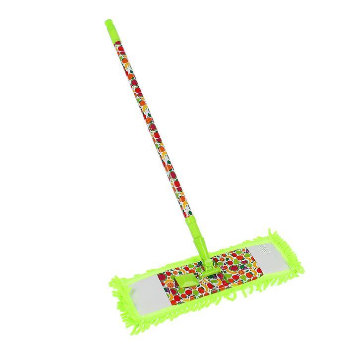 """Швабра плоская, телескопическая ручка 68-120 см, насадка из микрофибры """"Фрутс"""""""