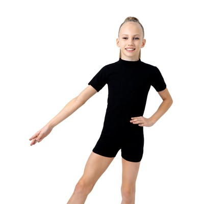 Купальник-шорты, с коротким рукавом, размер 34, цвет чёрный