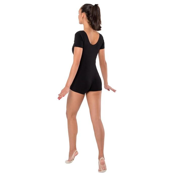 Купальник-шорты, с коротким рукавом, размер 40, цвет чёрный - фото 376923450