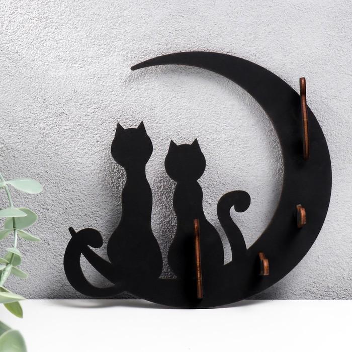 """Ключница открытая """"Коты и луна""""  17×16×3 см - фото 7930795"""