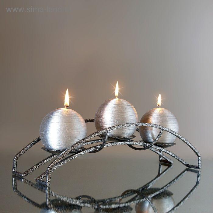 "Подсвечник Вера антикварное серебро со свечами ""серебро"" риф. мет."