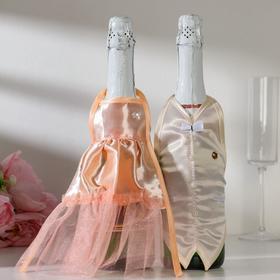 "Decoration on champagne ""Wedding waltz"" peach"