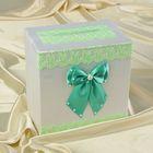 Коробка для денег «Семейный банк» с зелёным кружевом и мятным бантом