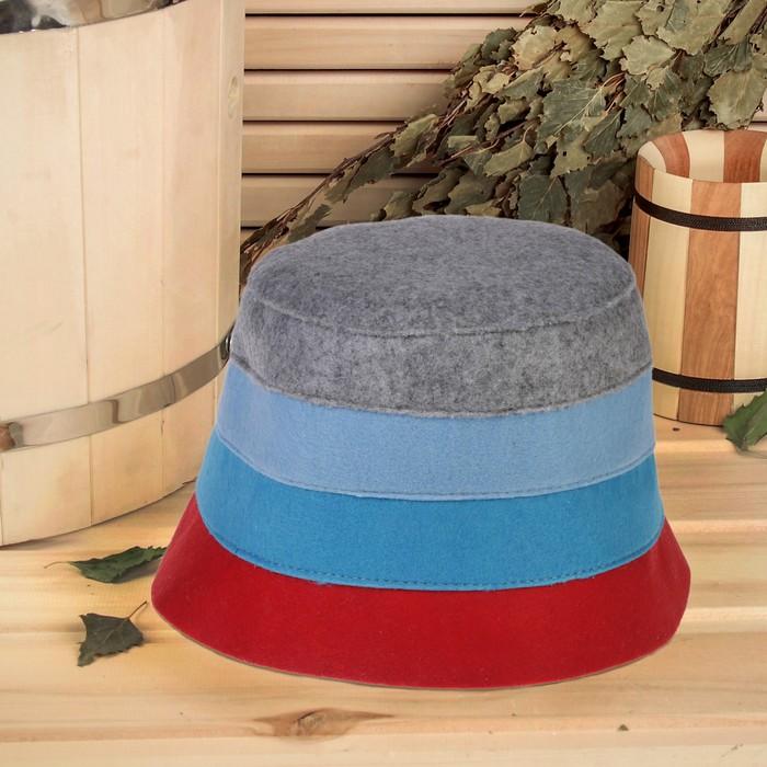 Банная шапка «В полоску», фетр, микс