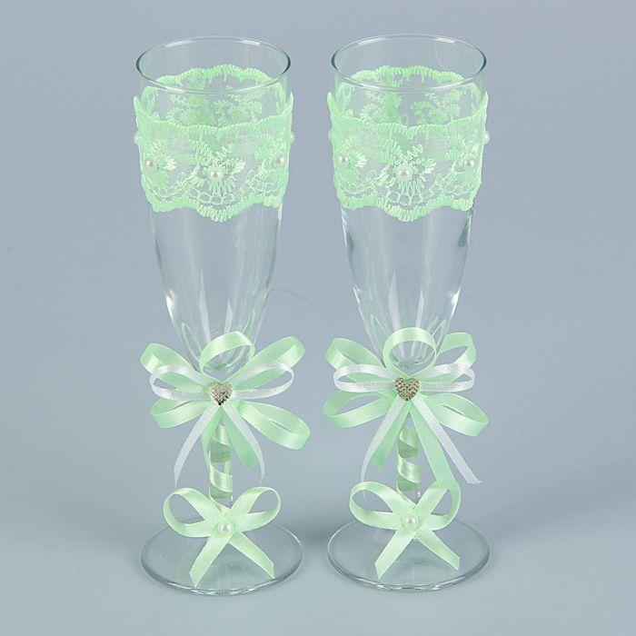 Набор свадебных бокалов для битья «Элит» с бантом и стразами, 2 шт., мятный