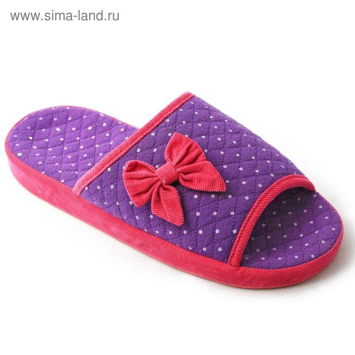 Тапочки детские открытые, размер 30-35, цвет лиловый/розовый/бирюза 128-4063