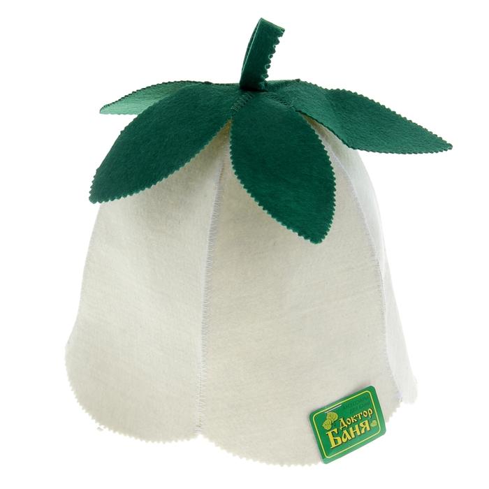 Шапка для бани и сауны «Ландыш», зелёно-белая