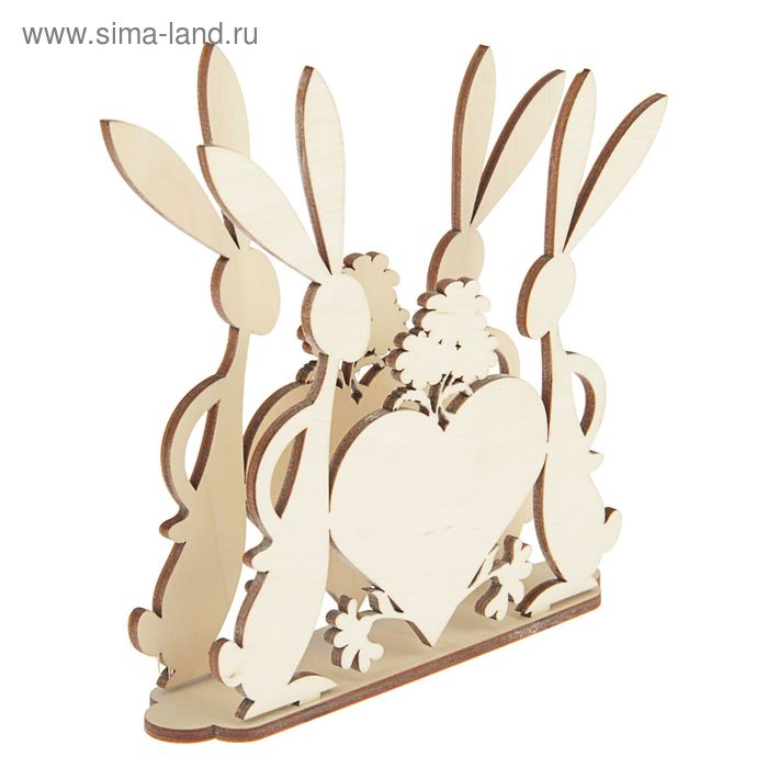 """Салфетница для декора """"Влюбленные зайцы"""" (набор 3 детали)"""