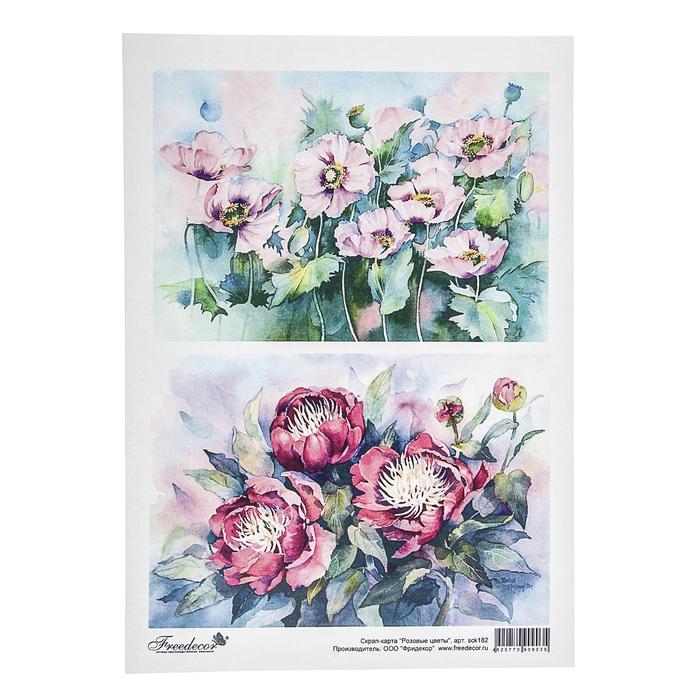 """Скрап-карта формата А4 """"Розовые цветы"""""""