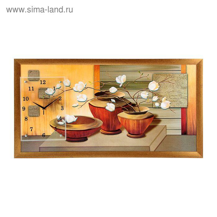 """Часы-картина настенные """"Три вазы с цветами"""", 50х100 см   УЦЕНКА"""