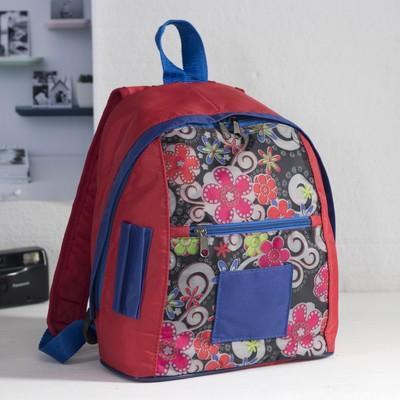 """Рюкзак детский на молнии """"Цветы и узоры"""", 1 отдел, 1 наружный карман, красный/серый/синий"""
