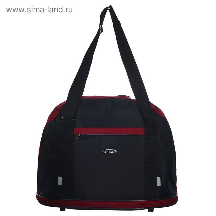 Сумка дорожная на молнии, 1 отдел, 1 наружный карман, чёрный/бордовый