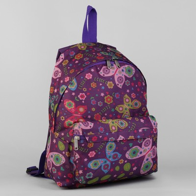 """Рюкзак молодёжный на молнии """"Бабочки"""", 1 отдел, 1 наружный карман, цвет сиреневый"""