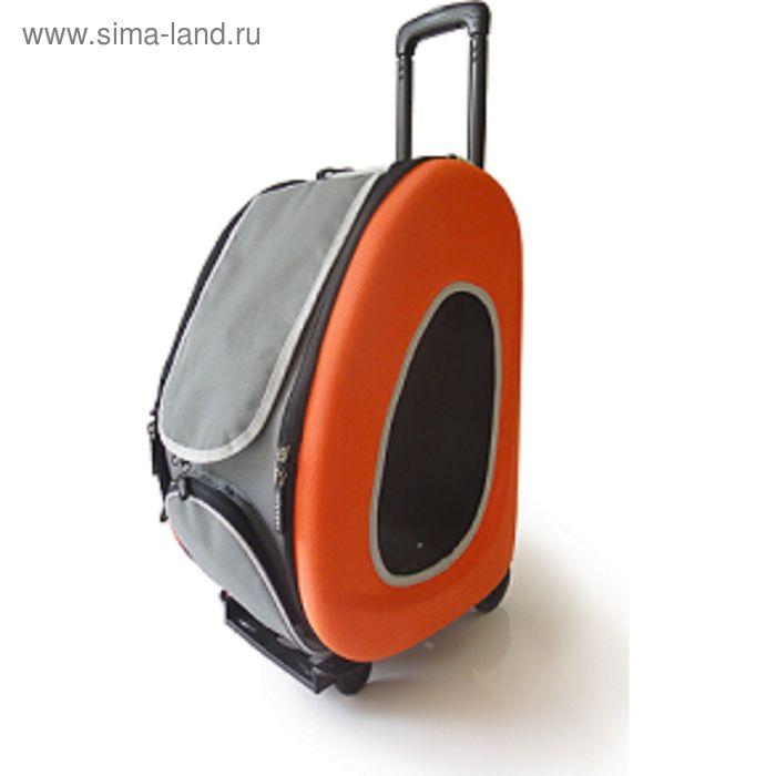 Сумка-тележка складная 3в1 Ibbiyaya для собак, до 8 кг (сумка, рюкзак, тележка), оранжевая
