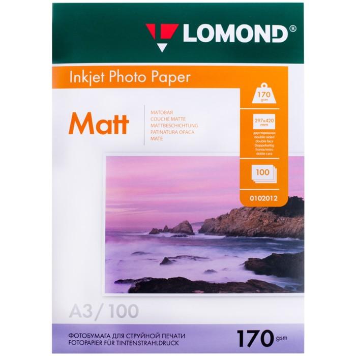 Фотобумага LOMOND для струйной печати А3, 170г/м2, 100 листов, двусторонняя, матовая
