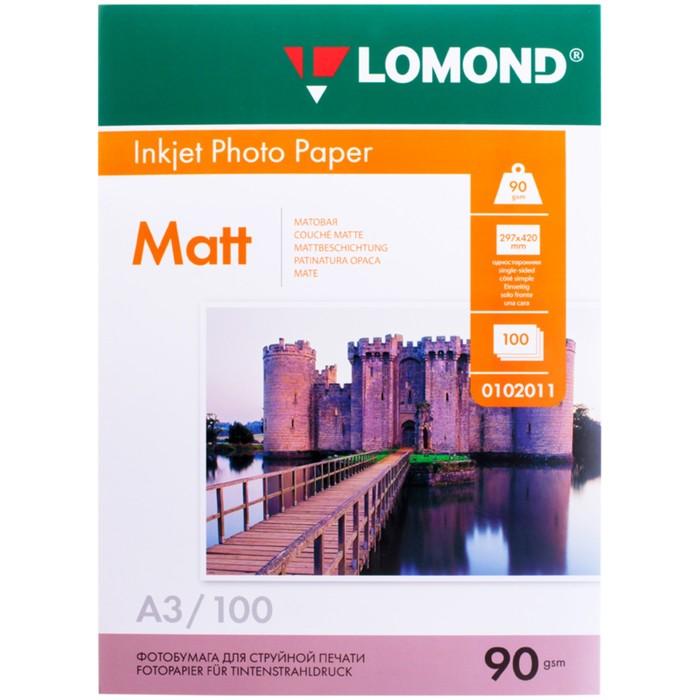 Фотобумага LOMOND для струйной печати, А3, 90 г/м2, 100 л., односторонняя, матовая