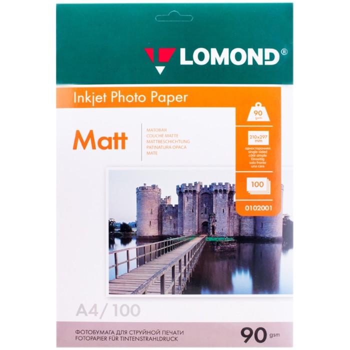 Фотобумага LOMOND для струйной печати А4, 90г/м, 100 листов, односторонняя, матовая