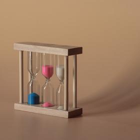 Часы песочные основание прямоуг1,3,5 минут, микс, 9х8,5х3 см