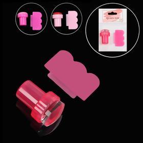 Набор 2 предмета: штампик для стемпинга, скребок, d=2,5см, цвет розовый