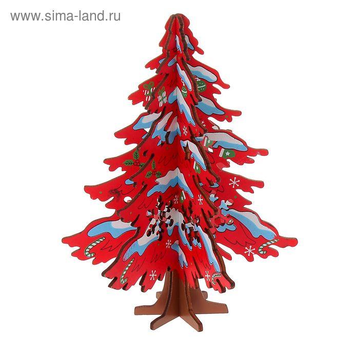Сувенир Ель новогодняя сборная малая, цвет красный