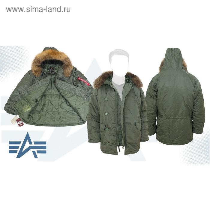 Куртка утеплённая N-3B Parka Alpha Industries Sage Green, натуральный мех, XS