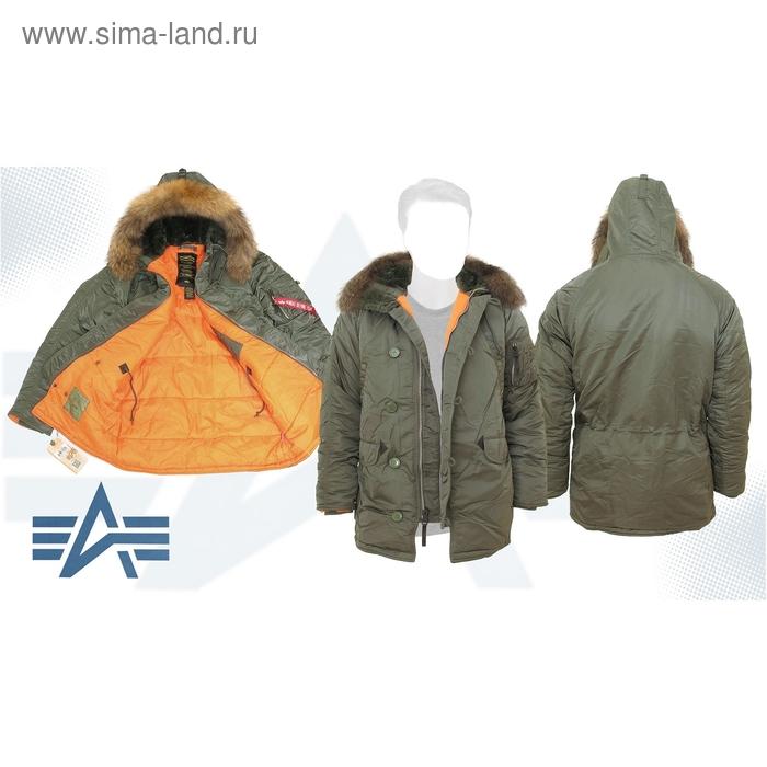 Куртка утеплённая Slim Fit N-3B Parka Alpha Industries Sage/Orange, натуральный мех, XS