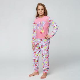 Пижама для девочки НАЧЁС, цвет розовый, рост 128 см (64)