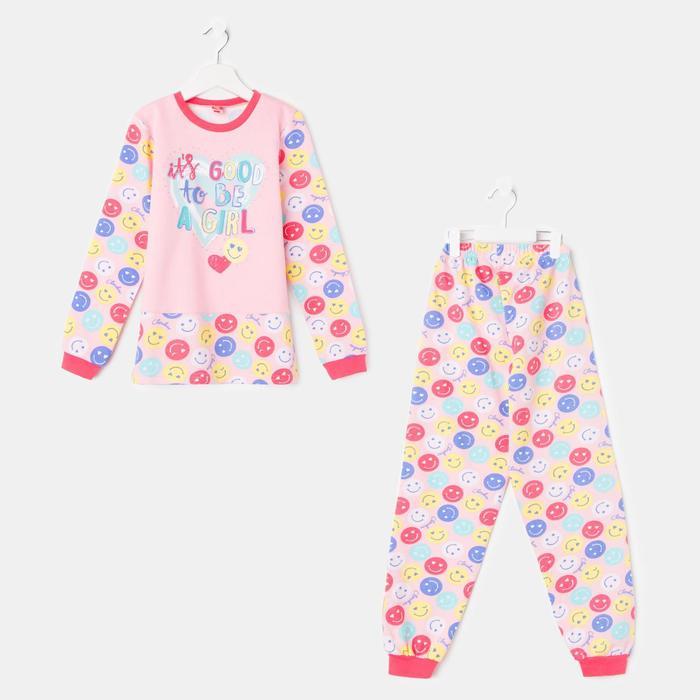 Пижама для девочки, рост 128 см (64), цвет персиковый