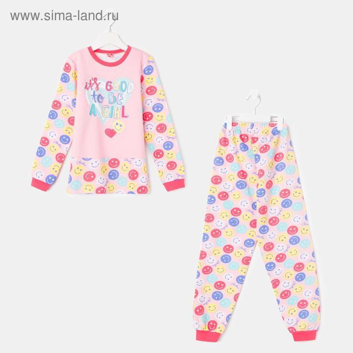 Пижама для девочки, рост 128 см (64), цвет персиковый CAJ 5257_Д