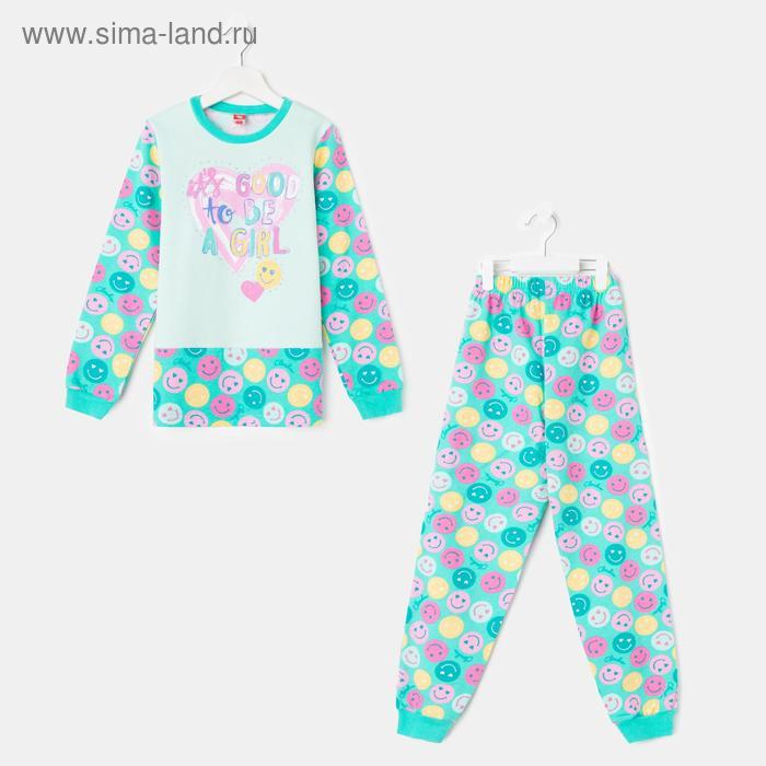 Пижама для девочки, рост 128 см (64), цвет бирюзовый CAJ 5257_Д