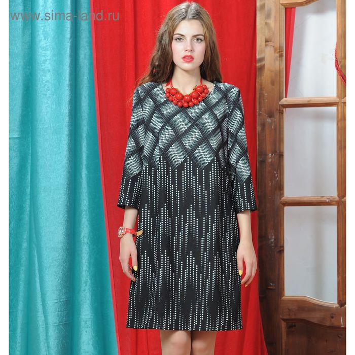 Платье 5055 С+, размер 50, рост 164 см, цвет черный/белый