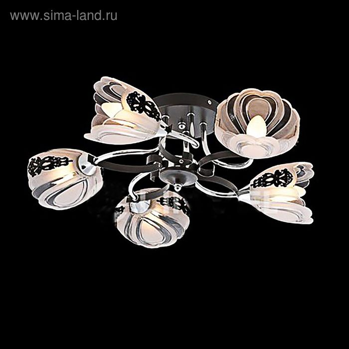 """Люстра """"Жозефина"""" 5 ламп 60W Е14 хром/черный"""