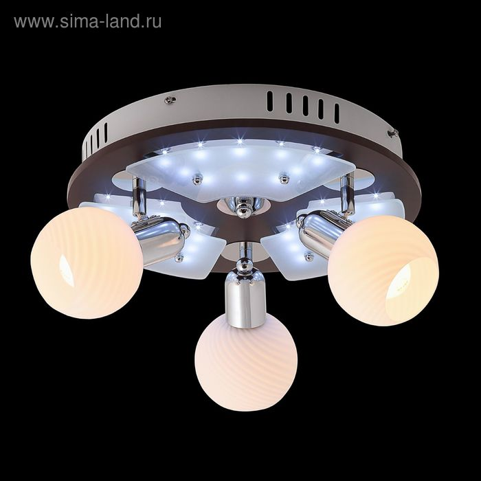 """Люстра """"Космос"""" 3 лампы 60W Е14 хром/темное дерево"""