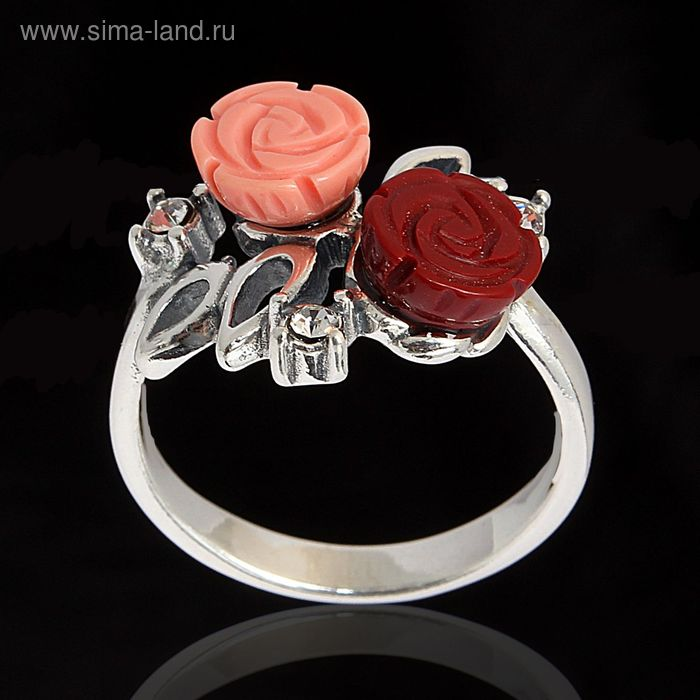 """Кольцо """"Маники"""", размер 18, цвет бело-красный в черненом серебре"""