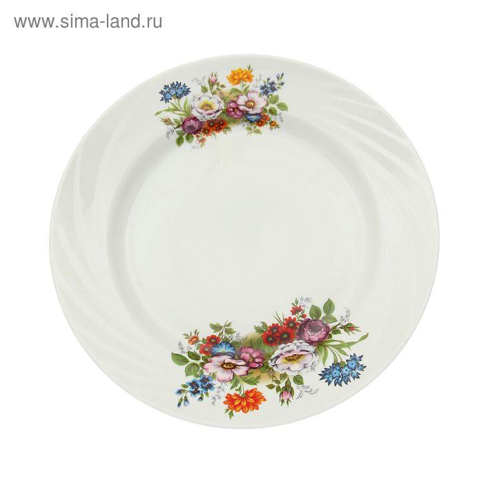 """Тарелка d=24 см мелкая, """"Голубка. Букет цветов"""""""