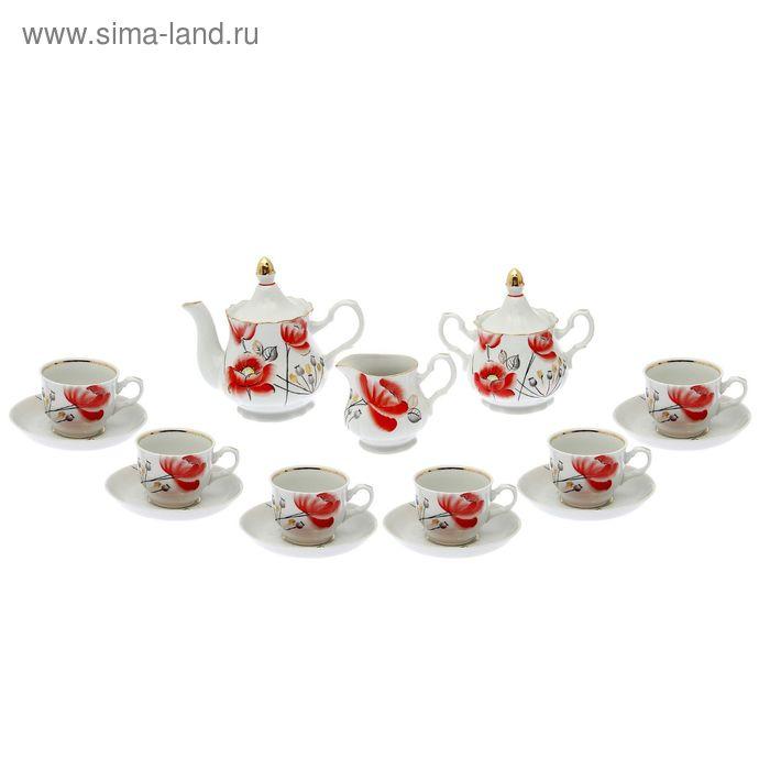 """Сервиз чайный """"Романс. Маков цвет"""" 15 предметов: 6 чашек чайных 250 мл, 6 блюдец чайных d=15 см чайник 800 мл, сахарница 550 мл, сливочник чайный 350 мл"""