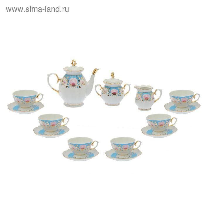 """Сервиз чайный """"Елена. Дворянский"""" 15 предметов: 6 чашек чайных 250 мл, 6 блюдец чайных d=15 см чайник 1 л, сахарница 400 мл, сливочник 180 мл"""