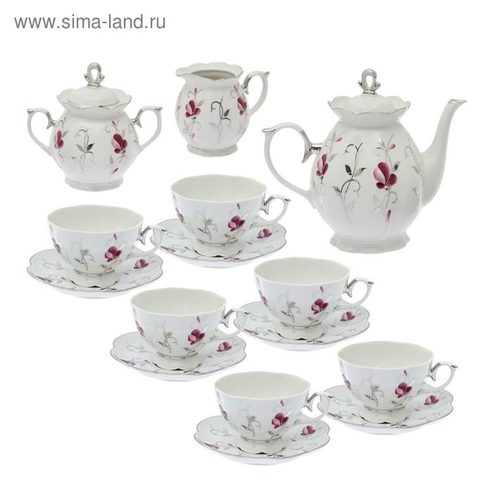 """Сервиз чайный """"Елена. Мелодия вальса"""" 15 предметов: 6 чашек чайных 250 мл, 6 блюдец чайных d=15 см чайник 1 л, сахарница 400 мл, сливочник 180 мл"""