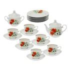 """Сервиз чайный """"Кирмаш. Ромашка с тюльпаном"""", 20 предметов:чайник 550 мл, сахарница 450 мл, 6 чашек 250 мл, 6 блюдец 15 см, 6 тарелок 17 см"""