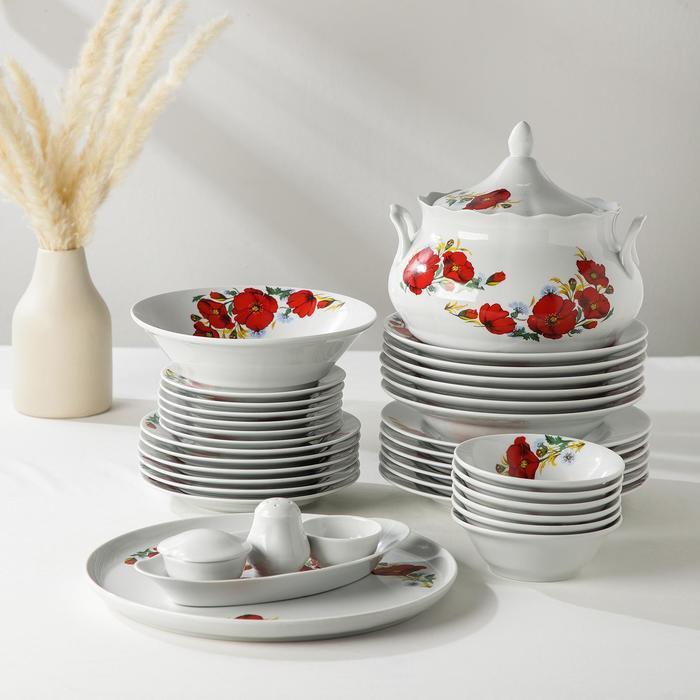 """Сервиз столовый """"Идиллия. Маки красные"""", 37 предметов, 4 вида тарелок"""
